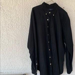 Polo Oxford shirt, black, cotton